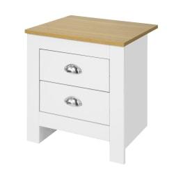 SoBuy Nattduksbord med 2 lådor Sängbord Soffbord vit FBT86-W White W45 * D40 * H48cm