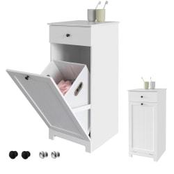SoBuy Badrumsskåp med tvättkorg, Förvaringsmöbel badrum BZR21-W