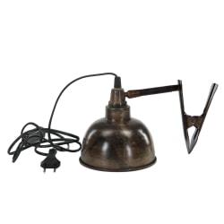 Häftig industrilampa med clip rostbrun