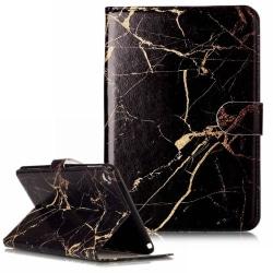 Läckert marmorerat läderfodral till iPad mini 2/3, svart svart