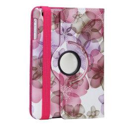 Blommigt läderfodral med roterbart ställ till iPad Mini/2/3 rosa
