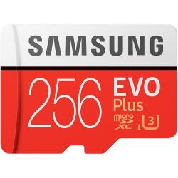256GB Samsung EVO Plus MicroSDXC med SD-adapter, 100MB/s