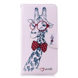 Läderfodral med ställ/kortplats, giraff, iPhone XS Max rosa