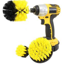 Borstset till skruvdragare för rengöring av klinkers/fogar/fä... gul
