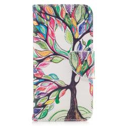 Läderfodral med ställ/kortplats, färgglatt träd, iPhone X/XS flerfärgad