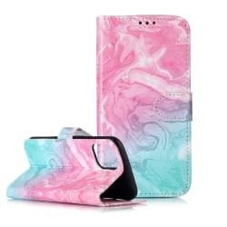 Trendigt läderfodral ställ, marmor, iPhone 11 Pro Max, rosa/b... rosa