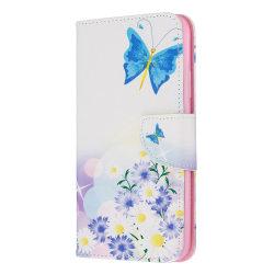 Läderfodral med ställ/kortplats, fjärilar, iPhone 11 Pro Max vit
