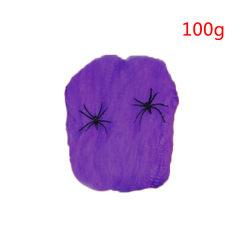 100g Halloween Stretchy Spider Web Horror Cobweb Decoration purple