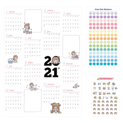 2021 års kalender hemkontor schema papper kalender dekor No.3