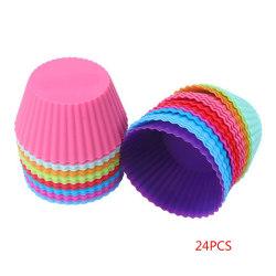 24st återanvändbar silikonmuffins bakning muffinsfärg slumpmässig 24pcs color random