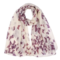 Fjärilstryckt Voile Scarf Insect Pattern Shawl Silk scarf as the picture