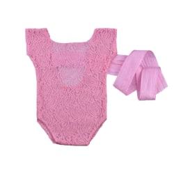 Nyfödd Baby Spets Romper Jumpsuit Back Tie bow-knot Outfit No.3