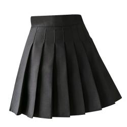 Plisserad kjol Mini High Waist Tennis Girl Kjol med shorts black L