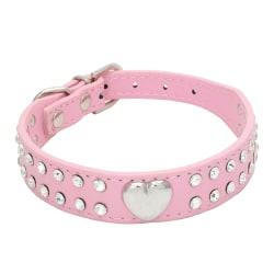 Rhinestones Crystal Heart Läder Pet Cat Dog Collar Puppy 25cm pink