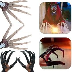 3D Halloween Tryckt Articulated Fingers Extensions Dekoration Black left