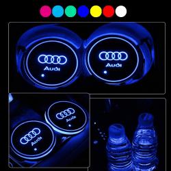 2X  Med Audi logo Led bottenplatta till mugghållare Silver one size