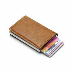 Brun RFID - NFC Skydd Läder Plånbok Korthållare 6st Kort Brun one size