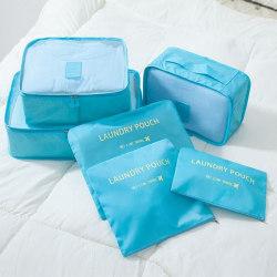 Ljusblå 6st Insatser till resväskor Blå one size