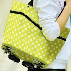 Smart Vikbar Shoppingväska på hjul Grön Vit  Grön one size