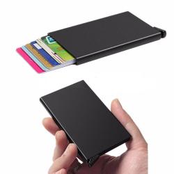 Svart korthållare skjuter Fram 5 kort - RFID säker Svart one size