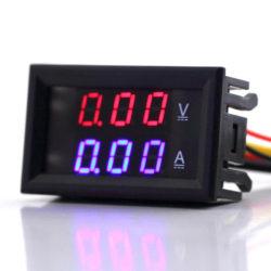 Voltmätare + Amperemätare DC 0-100V/10A Svart