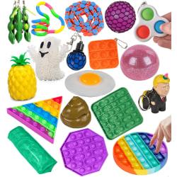 20-Pack Fidget Toys - Pop It, Stressboll, Simple Dimple, m.m. multifärg