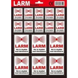 16-Pack - Larmdekaler / Klistermärke - Larm / Inbrottslarm Klister på Baksidan