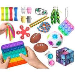 26-Pack Fidget Toys - Pop It, Stressboll, Bönor m.m. multifärg