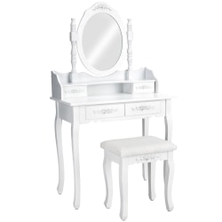 tectake Sminkbord med 4 lådor + spegel + pall Vit