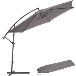 tectake Parasoll 350 cm grå