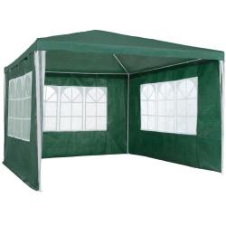 tectake Partytält 3x3m med 3 sidodelar Grön