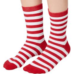 tectake Julsockor randiga vitt-rött Red 35-38