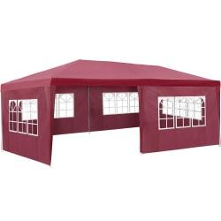 tectake Partytält 6x3m med 5 sidodelar Röd