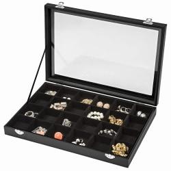 tectake Smyckeskrin med 24 förvaringsfack Svart