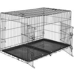 tectake Hundbur-gallerbox - 122 x 76 x 81 cm Svart