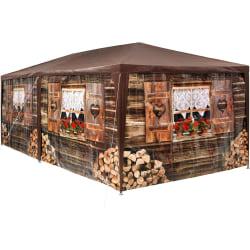 tectake Partytält 6x3m med 6 sidodelar Brun