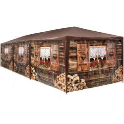 tectake Partytält 9x3 m med 8 sidodelar Brun