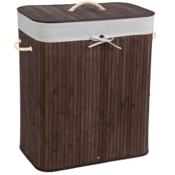 tectake Tvättkorg med tvättsäck -  100 L Brun