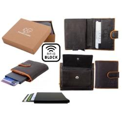 Äkta Läder Plånbok o Smart Korthållare .100% RFID Skydd.SVART+OR Svart och Orange