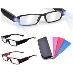 Läsglasögon Med LED-Lampa i fodral . Dag/Natt Styrka +1,50 Svart