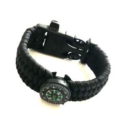 Armband av Paracord tändstål, kompass och vissla - svart svart