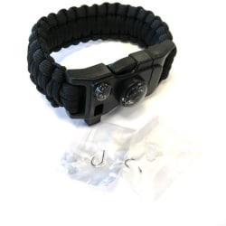 Paracord Armband kraftigt utförande med fiskekit mm svart