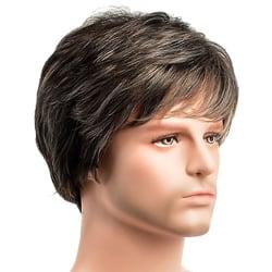 Vuxna herrblont kort lockigt hår Naturliga fulla manliga snygga peruker