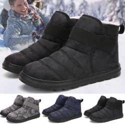 Mens vinter varm camo snö stövlar päls fodrad ankel platt skor black 41