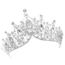 Barock Crown Girl Bröllop Hårkläder Tillbehör Bridal Tiara Silver