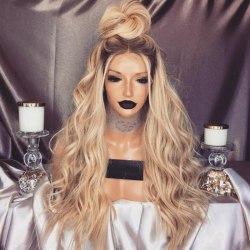 Svart guld gradient hår peruk kvinnor mode gold