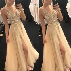 Brudtärna V-ringad ärmlös klänning Lång klänning aftonklänning Golden S