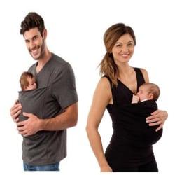 Baby Carrier Clothing Kangaroo T-shirt för Mother Big Pocket Top Man-grey L