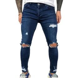 Elastic Skinny Jeans Men Hole Denim Pants Deep Blue 3XL
