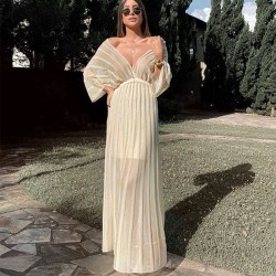 Elegant V-ringad sjalärm för kvinnor Vit aftonklänning White M